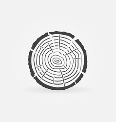 Slice with tree rings concept icon vector