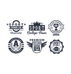 sport college team logo design set vintage vector image