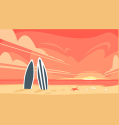 sunrise and two surfboard vector image