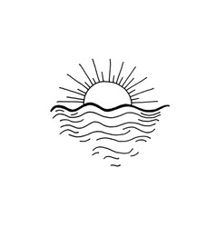 sunset in the ocean sketch drawing icon vector image