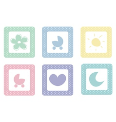 Sweet icons with polka dots isolated on white vector