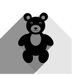 teddy bear sign black icon vector image
