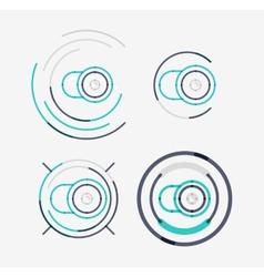 Thin line neat design logo set camera concept vector