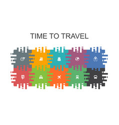 time to travel cartoon template with flat elements vector image