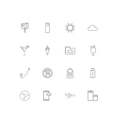 travel and tourism linear thin icons set outlined vector image