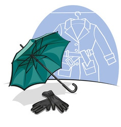 umbrella and gloves vector image