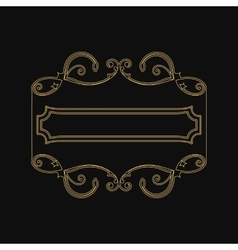 Vintage gold frame with decorative and vegetable vector image