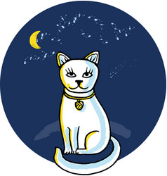 White cat at night moon vector