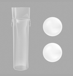 white cotton pads and clear package vector image
