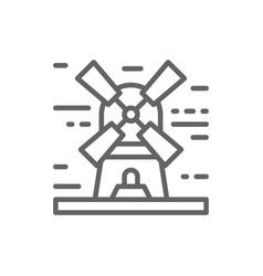 windmill landscape line icon vector image