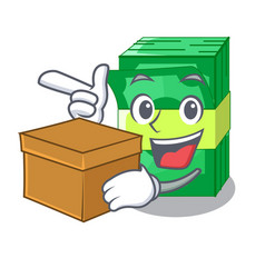 With box stack of dollars isolated on mascot vector