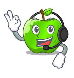 With headphone green smith apple isolated on vector