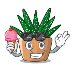 With ice cream character small zebra cactus plant vector