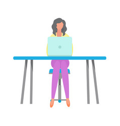 woman freelancer sitting by table with laptop vector image