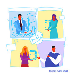 woman secretary brings document stack to vector image