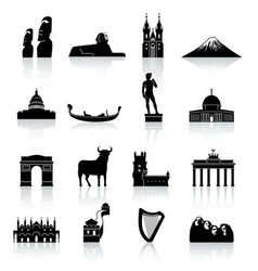 World monuments and culture icon set vector