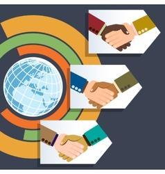 Worldwide multiethnic business handshakes vector image
