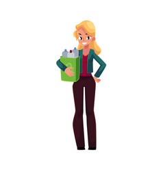 Young woman holding box with plastic bottles vector