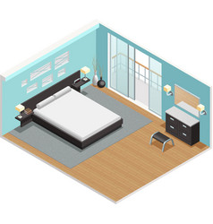 Bedroom Interior Isometric View Poster vector image vector image