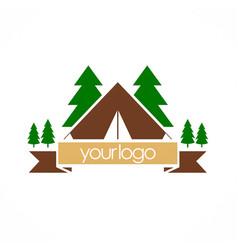 camping nature pine tree logo vector image
