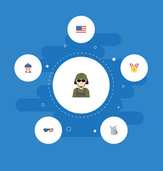 Flat icons barbecue military man spectacles and vector
