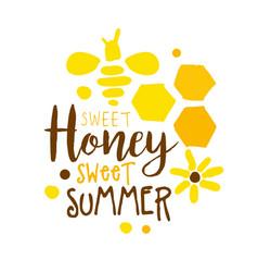 Honey sweet summer logo colorful hand drawn vector