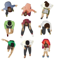 People sitting top view set 3 vector