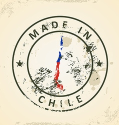 Stamp with map flag of Chile vector image vector image