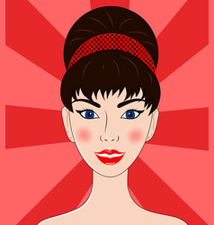 beautiful women the brunette portrait vector image vector image