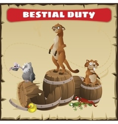 Bestial duty a funny scene with wild animal vector