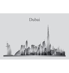 Dubai city skyline silhouette in grayscale vector image vector image