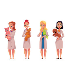 female woman veterinarian doctors vets holding vector image