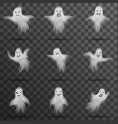 halloween white scary ghost isolated template vector image