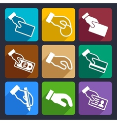 Hand with different objects Flat Icons Set 42 vector image vector image