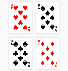 Playing cards showing eights from each suit vector