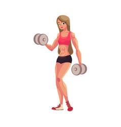 woman bodybuilder weightlifter working out vector image