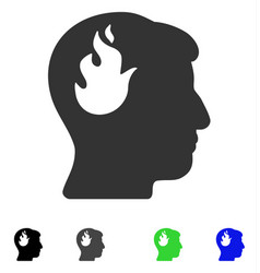 Brain fire flat icon vector