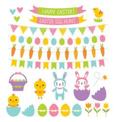 Easter design elements set vector image