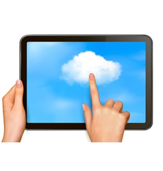 Finger touching cloud on a touch screen vector image