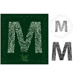 Leaves alphabet letter m vector