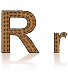 letter r is made grains of coffee isolated on whit vector image vector image
