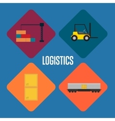 Logistics and transportation icon set vector