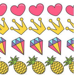 quirky cartoon seamless pattern pink heart crown vector image