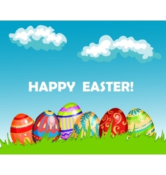 Colourful Happy Easter greeting card design vector image vector image