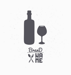 hand drawn silhouette of wine bottle and glass vector image vector image