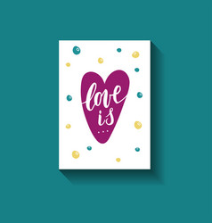 love is hand written phrase with decor elements on vector image vector image
