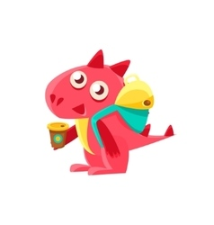 Red Dragon With Coffee And Backpack vector image vector image
