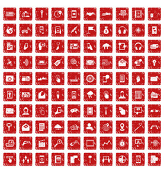 100 mobile icons set grunge red vector