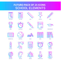 25 blue and pink futuro school elements icon pack vector image