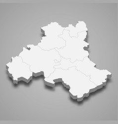 3d isometric map heves is a county hungary vector